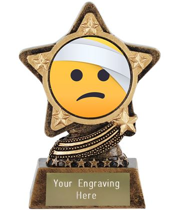 """Face With Head Bandage Emoji Trophy by Infinity Stars 10cm (4"""")"""