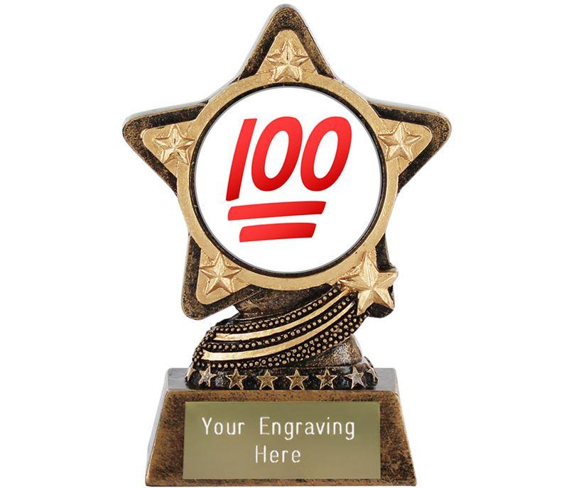 "Hundred Points Emoji Trophy by Infinity Stars 10cm (4"")"
