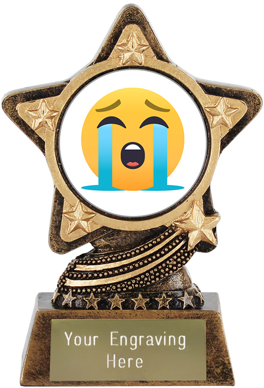 "Loudly Crying Face Emoji Trophy by Infinity Stars 10cm (4"")"