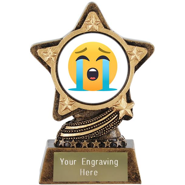 """Loudly Crying Face Emoji Trophy by Infinity Stars 10cm (4"""")"""