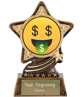 "Money Mouth Face Emoji Trophy by Infinity Stars 10cm (4"")"