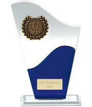 "Trek Clear & Blue Glass Plaque Award 18.5cm (7.25"")"