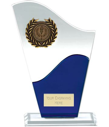 "Trek Clear & Blue Glass Plaque Award 20cm (8"")"