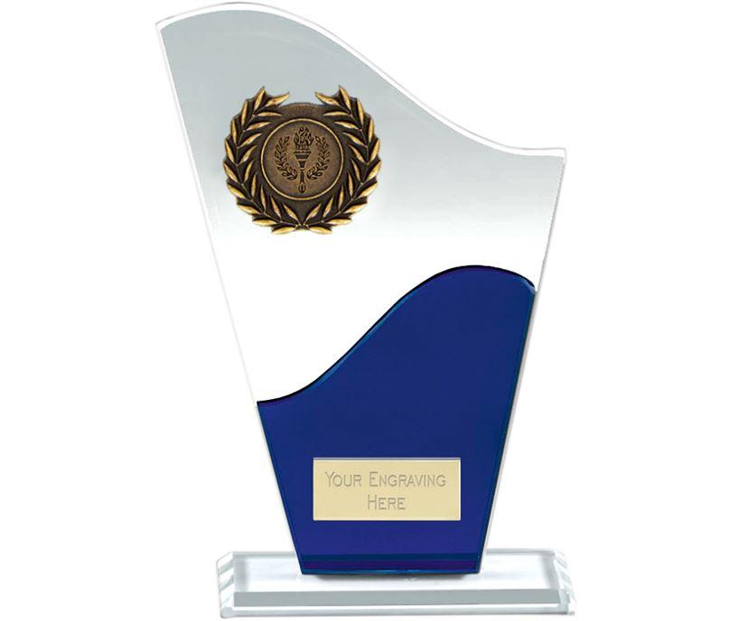 "Trek Clear & Blue Glass Plaque Award 16.5cm (6.5"")"