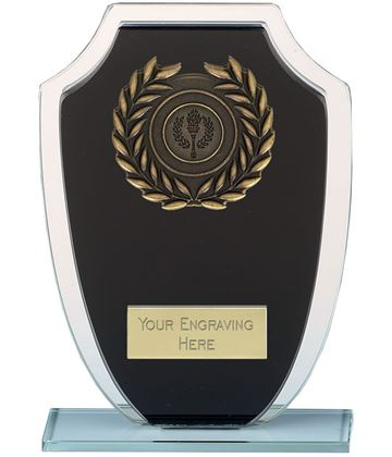 "Laurel Wreath Shield Glass Plaque Award Black & Clear 20cm (8"")"