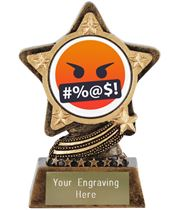 "Face With Symbols On Mouth Emoji Trophy by Infinity Stars 10cm (4"")"