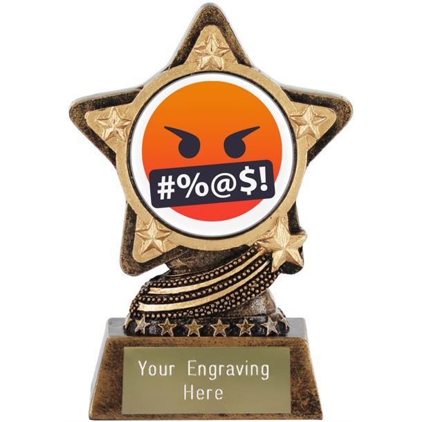 """Face With Symbols On Mouth Emoji Trophy by Infinity Stars 10cm (4"""")"""
