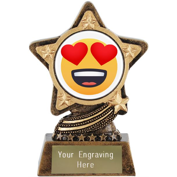 """Smiling Face With Heart Eyes Emoji Trophy by Infinity Stars 10cm (4"""")"""