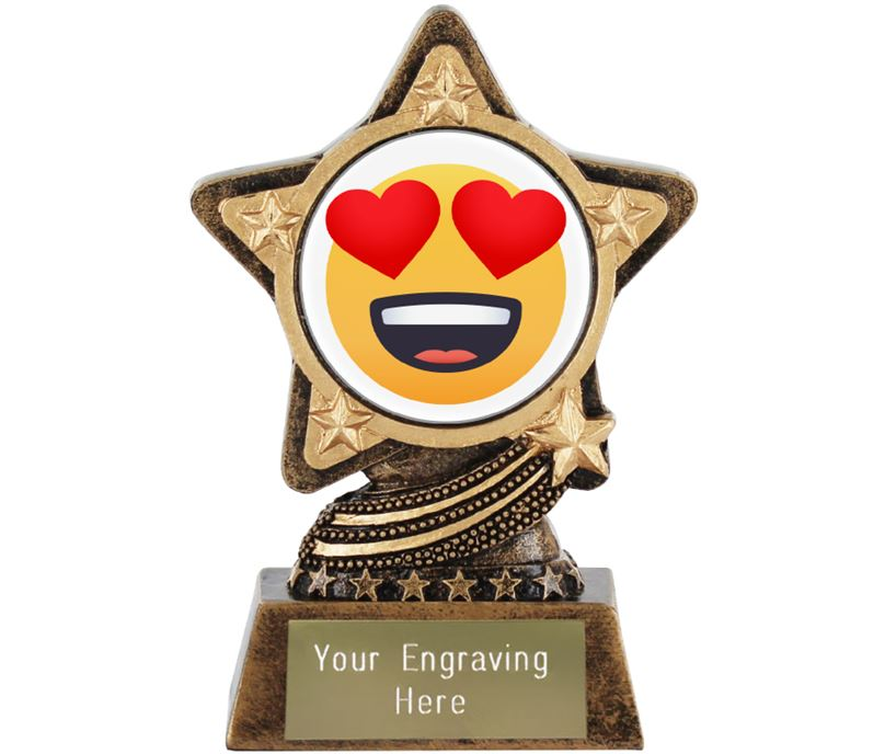 "Smiling Face With Heart Eyes Emoji Trophy by Infinity Stars 10cm (4"")"