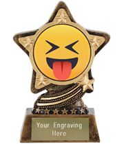 "Squinting Face With Tongue Emoji Trophy by Infinity Stars 10cm (4"")"