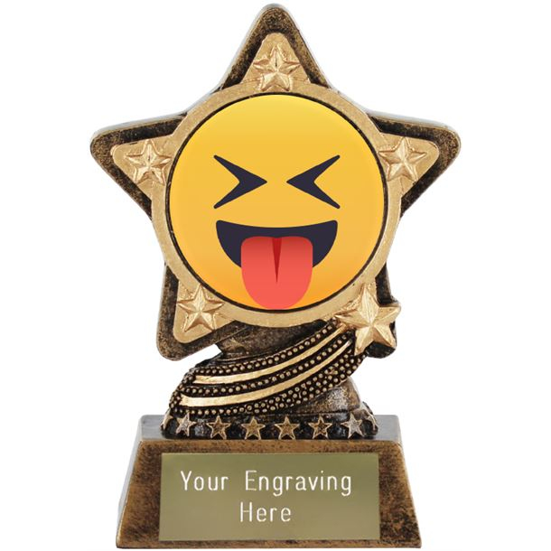 """Squinting Face With Tongue Emoji Trophy by Infinity Stars 10cm (4"""")"""