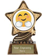 "Hugging Face Emoji Trophy by Infinity Stars 10cm (4"")"