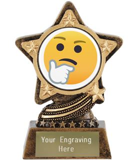 "Thinking Face Emoji Trophy by Infinity Stars 10cm (4"")"