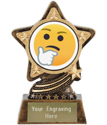 """Thinking Face Emoji Trophy by Infinity Stars 10cm (4"""")"""