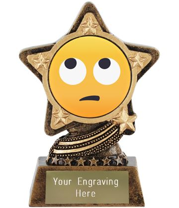 """Face With Rolling Eyes Emoji Trophy by Infinity Stars 10cm (4"""")"""