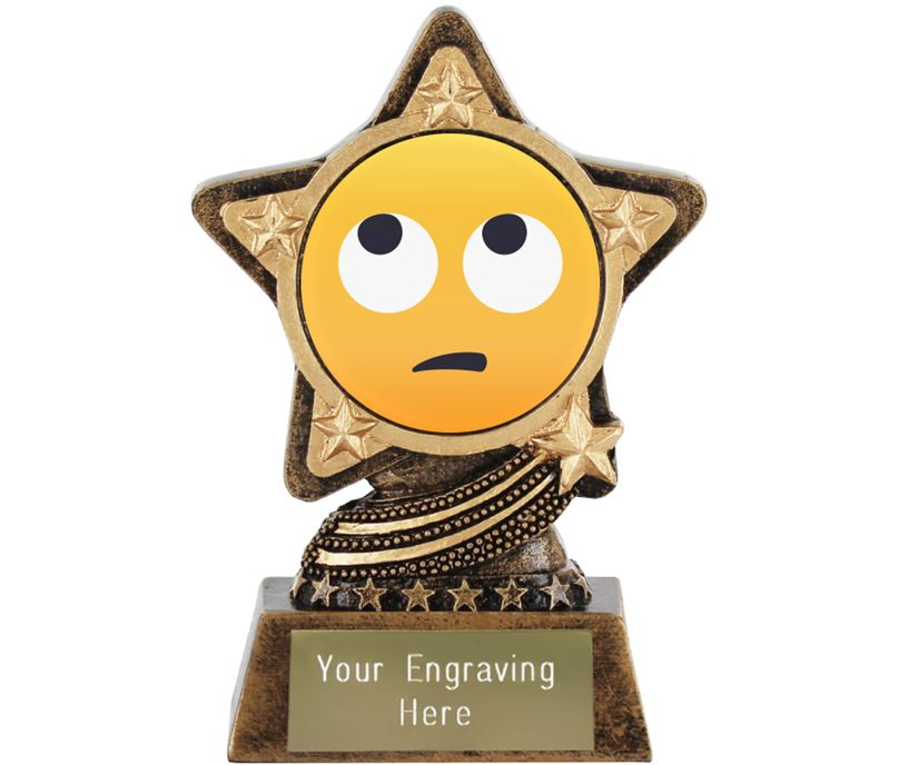 "Face With Rolling Eyes Emoji Trophy by Infinity Stars 10cm (4"")"