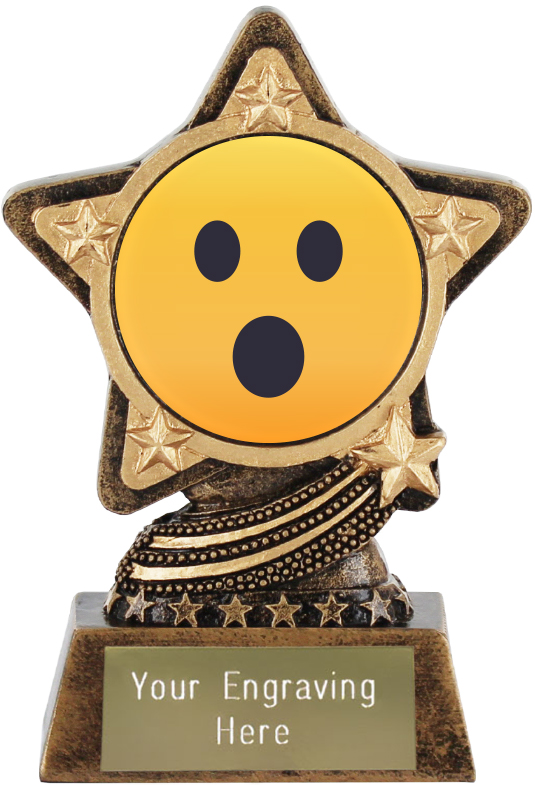 "Face With Open Mouth Emoji Trophy by Infinity Stars 10cm (4"")"