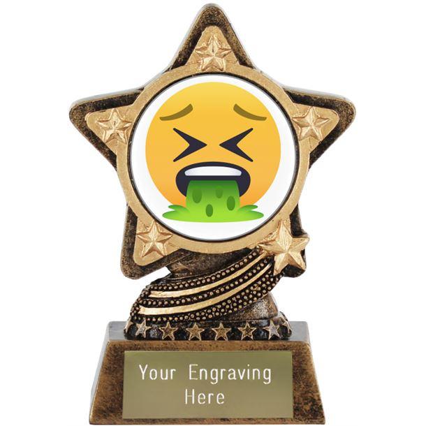 "Face Vomiting Emoji Trophy by Infinity Stars 10cm (4"")"