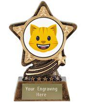 "Grinning Cat Emoji Trophy by Infinity Stars 10cm (4"")"