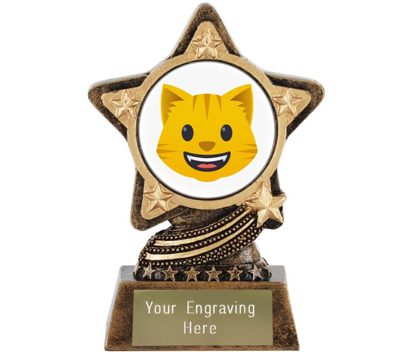 "Grinning Cat Emoji Trophy by Infinity Stars 10cm (4"")"
