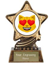"""Smiling Cat With Heart Eyes Emoji Trophy by Infinity Stars 10cm (4"""")"""