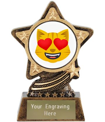 "Smiling Cat With Heart Eyes Emoji Trophy by Infinity Stars 10cm (4"")"