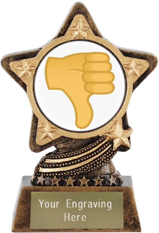 "Thumbs Down Emoji Trophy by Infinity Stars 10cm (4"")"