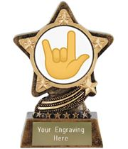 "Love You Gesture Emoji Trophy by Infinity Stars 10cm (4"")"