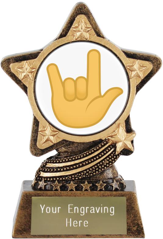 "Love You Gesture Emoji Trophy by Infinity Stars 10cm (4"")"