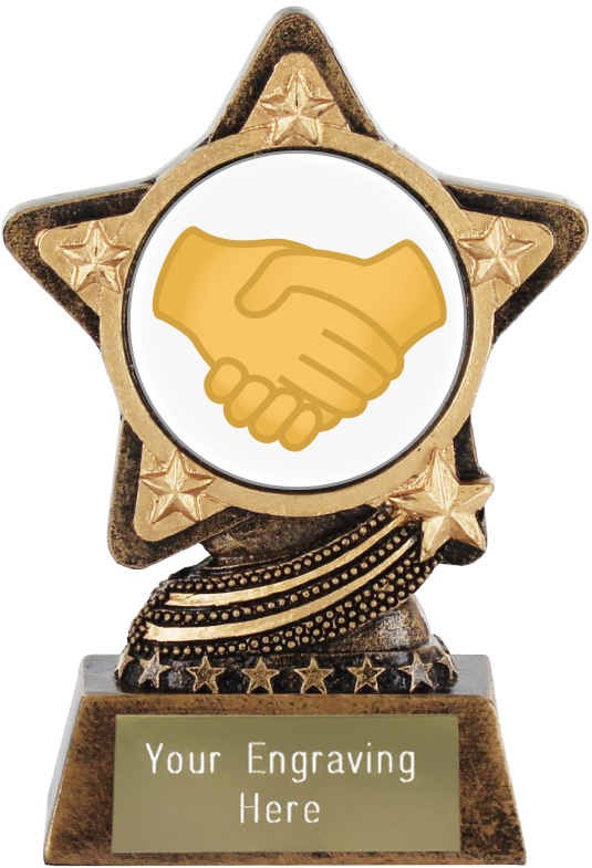 "Handshake Emoji Trophy by Infinity Stars 10cm (4"")"