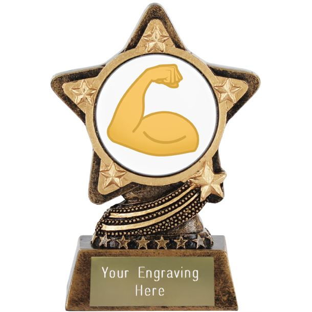 "Flexed Biceps Emoji Trophy by Infinity Stars 10cm (4"")"