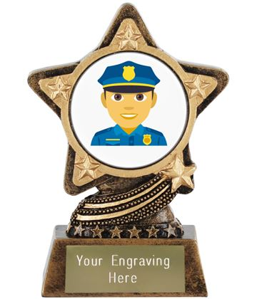 "Man Police Officer Emoji Trophy by Infinity Stars 10cm (4"")"