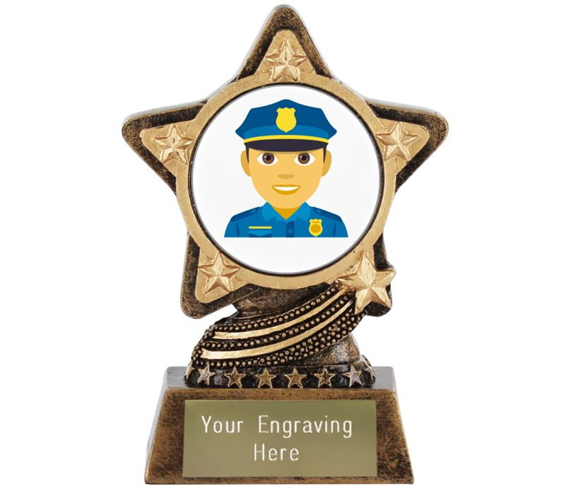 "Man Police Officer Emoji Trophy by Infinity Stars 10cm (4"")"