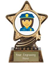 "Woman Police Officer Emoji Trophy by Infinity Stars 10cm (4"")"