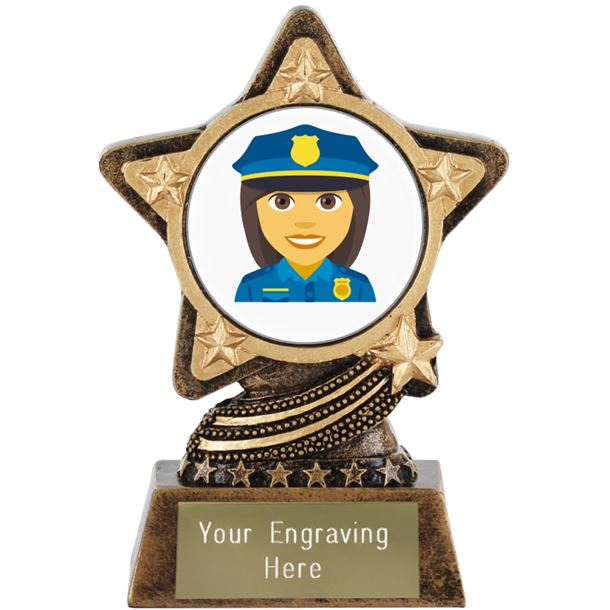 "Woman Police Officer Emoji Trophy by Infinity Stars 10cm (4"")"