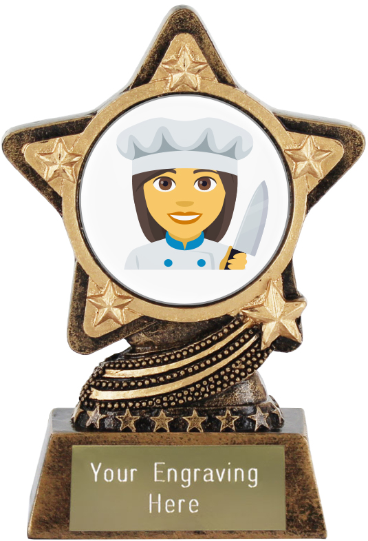 "Woman Cook Emoji Trophy by Infinity Stars 10cm (4"")"