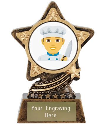 "Man Cook Emoji Trophy by Infinity Stars 10cm (4"")"