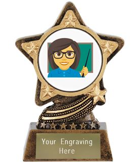 "Woman Teacher Emoji Trophy by Infinity Stars 10cm (4"")"
