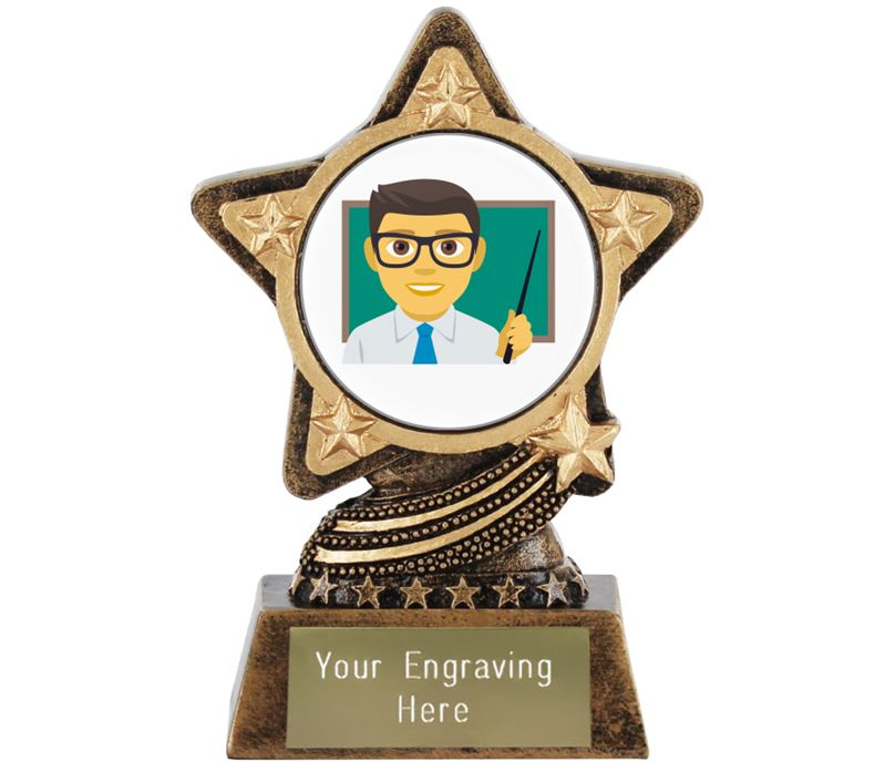 "Man Teacher Emoji Trophy by Infinity Stars 10cm (4"")"