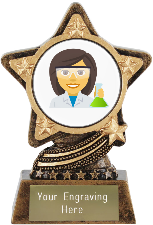 "Woman Scientist Emoji Trophy by Infinity Stars 10cm (4"")"