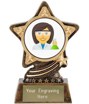 "Woman Scientist Emoji Trophy by Infinity Stars 10cm (4"")"