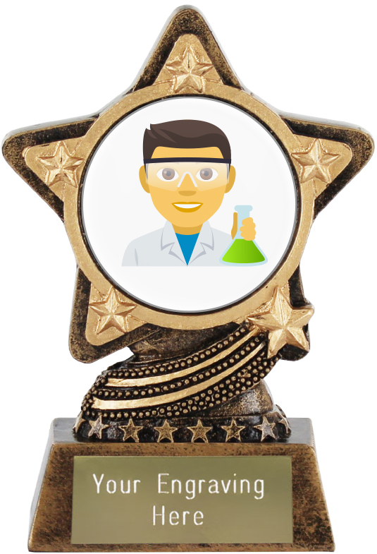 "Man Scientist Emoji Trophy by Infinity Stars 10cm (4"")"
