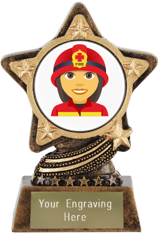 "Woman Firefighter Emoji Trophy by Infinity Stars 10cm (4"")"