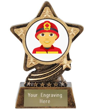 "Man Firefighter Emoji Trophy by Infinity Stars 10cm (4"")"