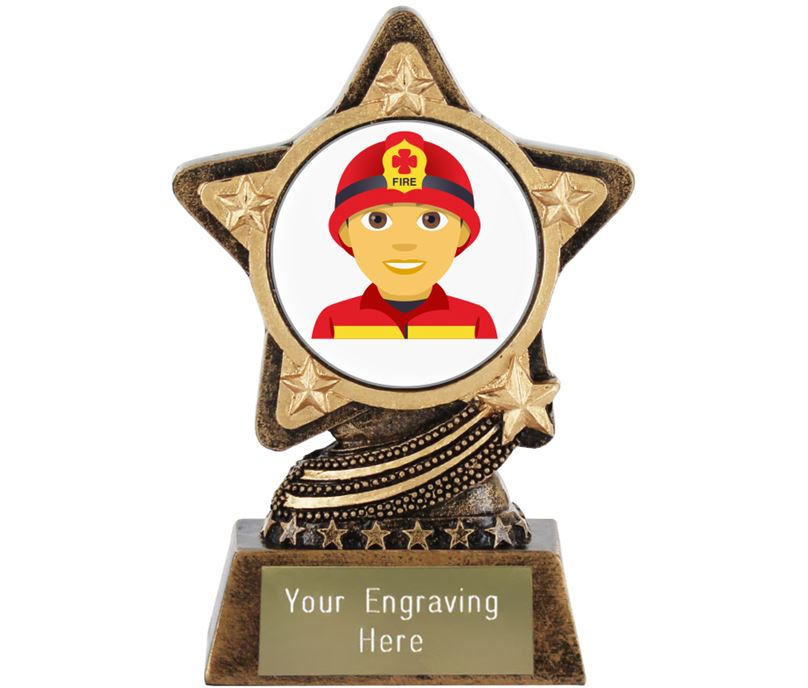 "Man Firefighter Emoji Trophy by Infinity Stars 10cm (4"")"