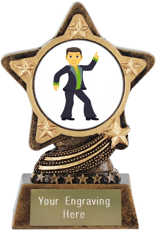 "Man Dancing Emoji Trophy by Infinity Stars 10cm (4"")"