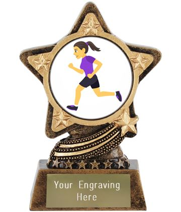 "Woman Running Emoji Trophy by Infinity Stars 10cm (4"")"