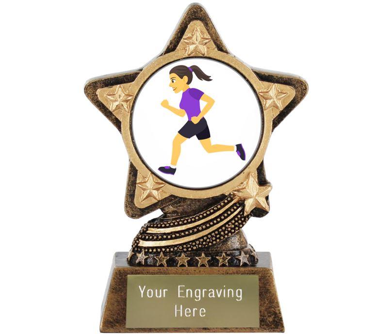 "Woman Running Emoji Trophy by Infinity Stars 10cm (4"")"