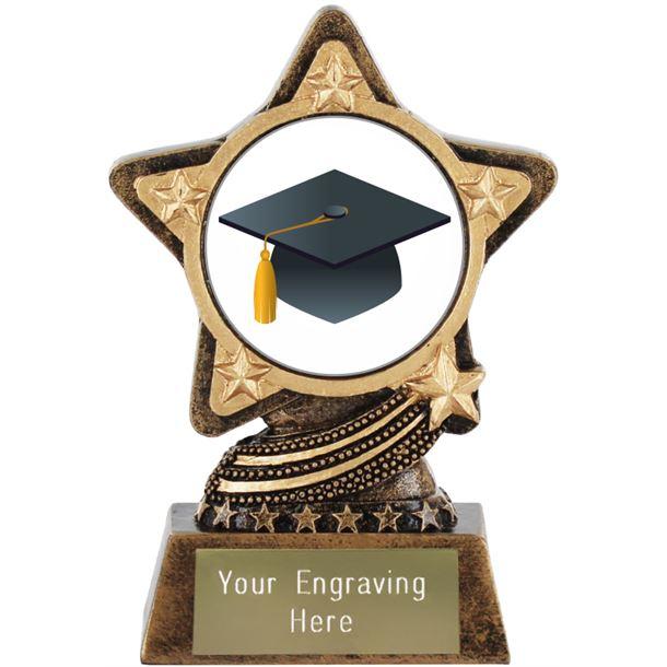 "Graduation Cap Emoji Trophy by Infinity Stars 10cm (4"")"