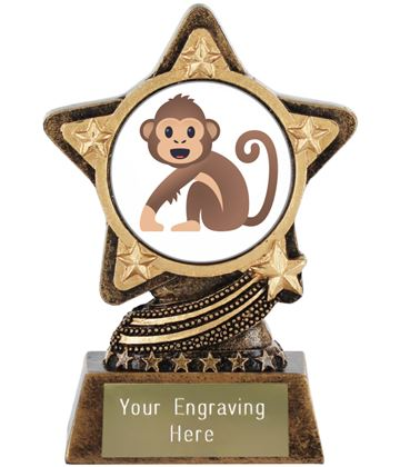 "Monkey Emoji Trophy by Infinity Stars 10cm (4"")"